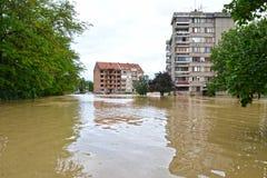 översvämmade byggnader royaltyfri foto