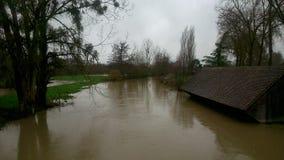 översvämmade fält Arkivbilder