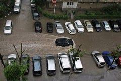 Översvämmade gator Arkivfoton