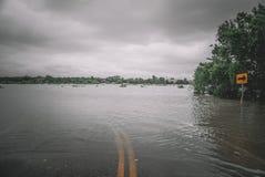 Översvämmade gator under orkanen Harvey Arkivbilder