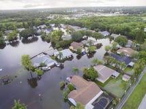 Översvämmade hus i Sarasota, FL arkivbild