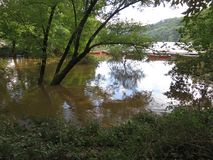 Översvämmade Potomac River på Fletchers i Washington DC royaltyfria foton