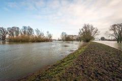 Översvämmat holländskt landskap tack vare nivån för högt vatten i adjacen Arkivfoto