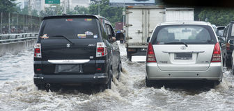 Översvämning Jakarta royaltyfria foton