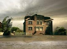 översvämningshus Royaltyfri Bild