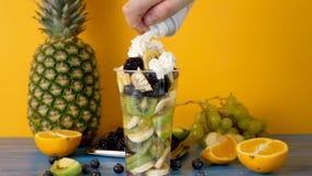 Överträffa en sund och läcker fruktsallad med piskad kräm stock video