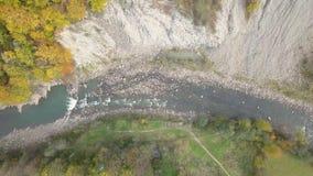 Överträffa ner flyg- sikt av den rörande floden i Carpathian berg stock video
