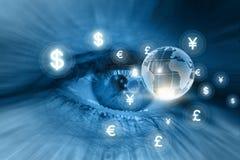 Övervaka den globala finansmarknaden Royaltyfri Fotografi