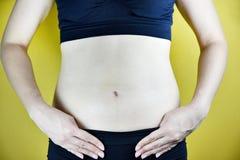 Överviktig fet kvinna, medelålders kvinna royaltyfri fotografi