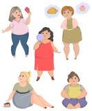 Överviktig fet kvinnauppsättning Begrepp av den sjukliga livsstilen och att banta vektor illustrationer
