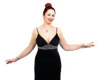 Överviktig kvinna med den eleganta klänningen Arkivfoto