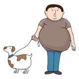 Överviktig man och hund Royaltyfria Bilder