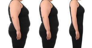 Överviktig viktförlust för kvinna före och efter på vit bakgrund royaltyfria foton