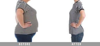 Överviktig viktförlust för kvinna före och efter på vit bakgrund fotografering för bildbyråer