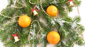 Övervintra bakgrund av mandarinen och garneringar för nytt år och jul Royaltyfri Foto