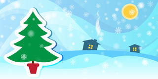 Övervintra bakgrund med ett granträd och snöa Arkivfoto