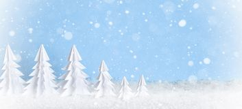 Övervintra baner för minimalist bakgrund för jul frostig med vitbokträd på blått Royaltyfri Fotografi