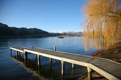 Övervintra bryggaplatsen på sjön Wakatipu, Queenstown Arkivbilder
