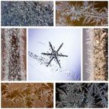 Övervintra collage av makrofoto av snöflingor och frostiga modeller på exponeringsglas och glasera Fotografering för Bildbyråer
