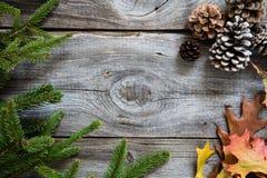 Övervintra dekoren på wood bakgrund för tappning för hållbara symboler Arkivfoton