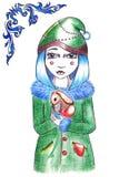 Övervintra den blåa frisyrflickan i hatt och lag med kanin Royaltyfria Bilder