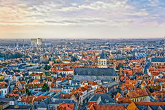Övervintra den flyg- sikten på den gamla staden av Bruges & x28; Brugge& x29; Fotografering för Bildbyråer