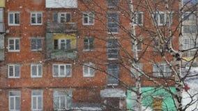 Övervintra den härliga snöfallsikten från fönstret som är utomhus- i ultrarapid, och ändringar fokuserar på björkbakgrund 1920x10 arkivfilmer