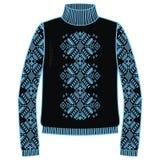 Övervintra den handgjorda varma tröjan, svitshot, förklädet för rät maska, svart, och blått färgar Design - snöflingajacquardmode stock illustrationer