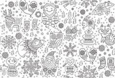 Övervintra den sömlösa modellen med dekorativa utsmyckade djur i snön Ideal för konturvektorillustration för att färga trycket vektor illustrationer