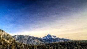 Övervintra den sceniska sikten av berg, Krivan, Slovakien, Eastern Europe Arkivbilder