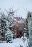 Övervintra den snöig trädgårds- sikten med det träskjulet och staketet Arkivfoto