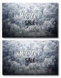 Övervintra den speciala försäljningen - affisch med snöig skogbakgrund vektor illustrationer