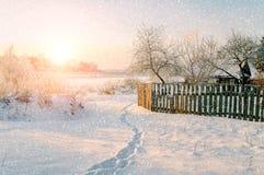 Övervintra det lantliga landskapet i solig solnedgångtid - övervintra byn bland snöig träd under snöfall Royaltyfria Bilder