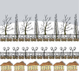 Övervintra eller tidig vårbakgrund med träd, lyktor och huset Stock Illustrationer