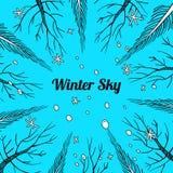 Övervintra eller tidig vårbakgrund med träd och snöflingor Stock Illustrationer