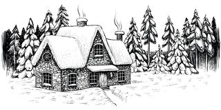 Övervintra huset som omges av granar och, sörjer, täckte med snö Idylliskt landskap för jul vektor illustrationer