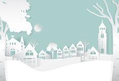 Övervintra i fridsamt staden, naturbakgrund, pappers- konststil vektor illustrationer