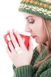 Övervintra influensa eller förkylningbegreppet på vit annonserande områdesbakgrund Royaltyfri Bild