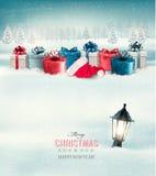 Övervintra julbakgrund med gåvor och en lykta stock illustrationer