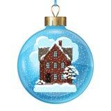 Övervintra kortdesignen med huset och träd på boll Arkivbild