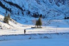 Övervintra landskap i bergen, Österrike, Europa Royaltyfri Foto