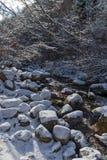 Övervintra landskapet av den Popina Laka vattenfallet nära staden av Sandanski, det Pirin berget, Bulgarien royaltyfri foto