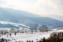 Övervintra landskapet, blasten av de Carpathian bergen under cov Arkivfoton