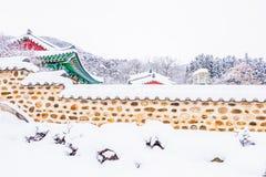 Övervintra landskapet i bergen med fallande insnöade Seoul, så Arkivbilder