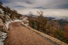 Övervintra landskapet i bergen nära Vassa, Grekland arkivfoto