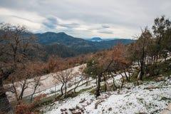 Övervintra landskapet i bergen nära Vassa, Grekland arkivbilder