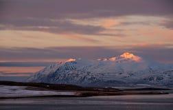 Övervintra landskapet i landsbygd i Island, på morgonsoluppgång Royaltyfri Bild