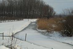 Övervintra landskapet med den djupfrysta kanalen och snöa lite varstans Arkivbild