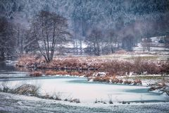 Övervintra landskapet med floden regen i bavaria Tyskland royaltyfria bilder