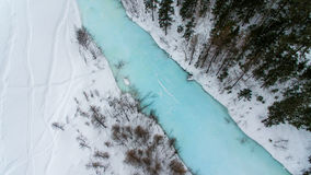 Övervintra landskapet med snöskogen och den blåa floden som fångas från ovannämnt med ett surr Royaltyfria Foton